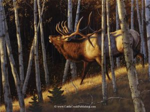 Aspen GoldThis trophy bull elk among aspen trees is bugling to assert his dominance and attract some cow elk. Aspen Gold mansanarez wildlife art
