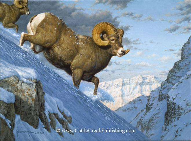 Breaking Trail <br> A pair of Bighorn sheep rams plow through deep snow heading for their winter range. Breaking Trail mansanarez wildlife art