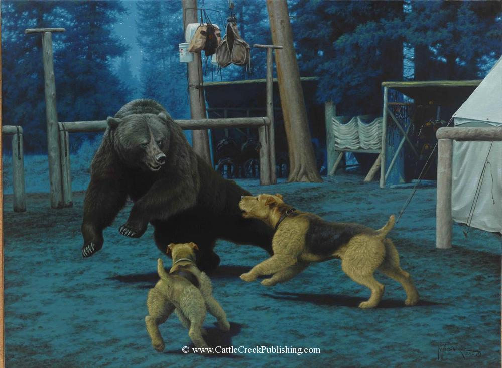 Camp Guardians<by>Painted from a true life story, these hunting Airedale dogs are chasing a grizzly bear out of Black Mountain Outfitters wilderness camp. Camp Guardians mansanarez wildlife art