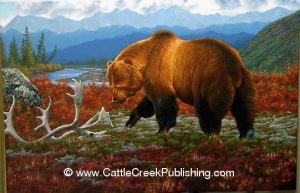 Colors of Autumn  Among the vibrant fall colors of Alaska, this grizzly bear inspects a caribou skull. Colors of Autumn mansanarez wildlife art