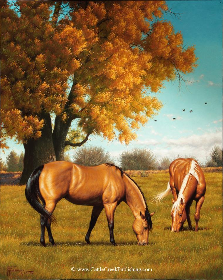 Fall SplendorA buckskin and palomino pair of horses enjoy a deep pasture among the rich fall colors. Fall Splendor mansanarez wildlife art