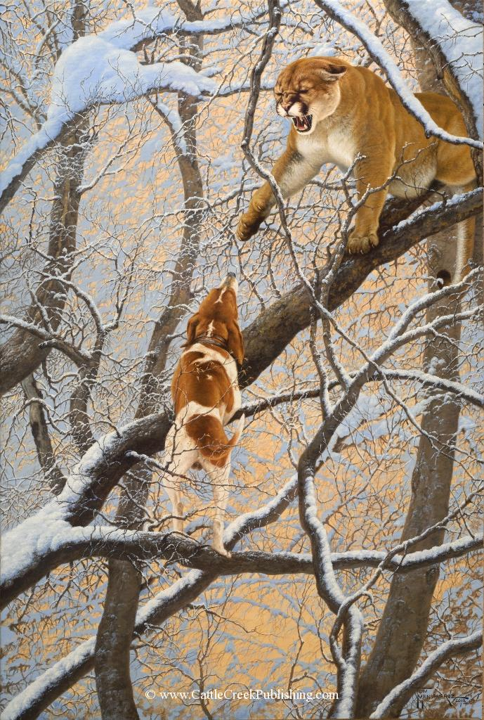 Fifteen Feet Up  This hound has climbed high into the trees to bay up this large cougar. Fifteen Feet Up mansanarez wildlife art
