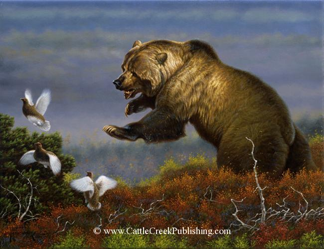 Flushed  A grizzly bear flushes a flock of Ptarmigan from the tundra. Flushed mansanarez wildlife art