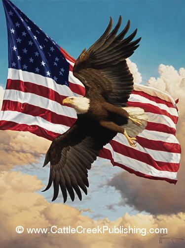 Liberty Flight  Our national emblems, the Bald Eagle and the American flag. Liberty Flight mansanarez wildlife art