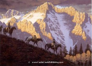 One Last Look  These riders give one last look the mountains as they descend. One Last Look mansanarez wildlife art