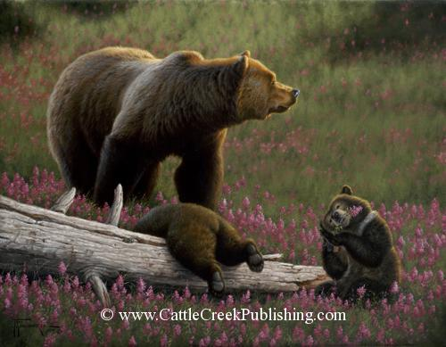 Playful Twins  A grizzly bear sow and her playful cubs spend the afternoon in a field of wildflowers. Playful Twins mansanarez wildlife art