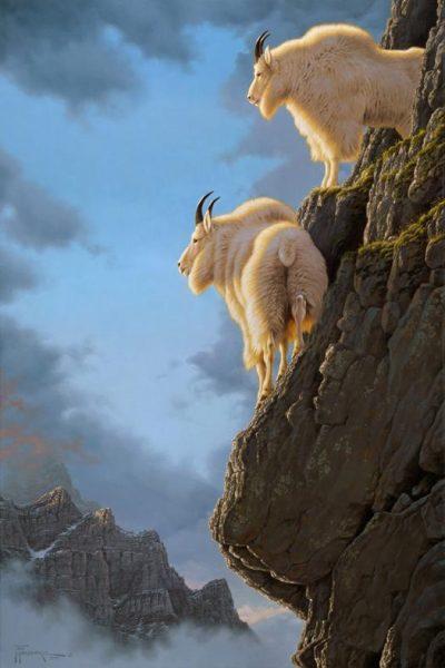 Precarious Position Two mountain goat billies cling to the cliffs they call home. Precarious Position mansanarez wildlife art