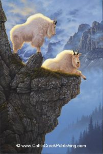 Rock Solid  Without fear this pair of mountain goats perch themselves among the deadly cliffs. Rock Solid mansanarez wildlife art