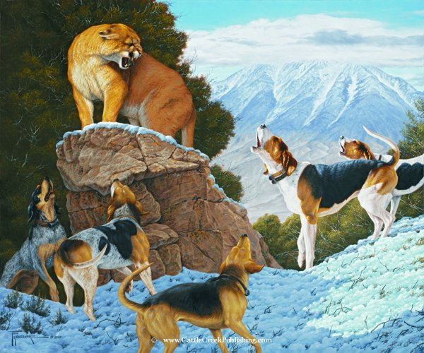 Stand Off  This cougar (mountain lion) has found a boulder to perch on as the baying hounds hold him tight. Stand Off mansanarez wildlife art