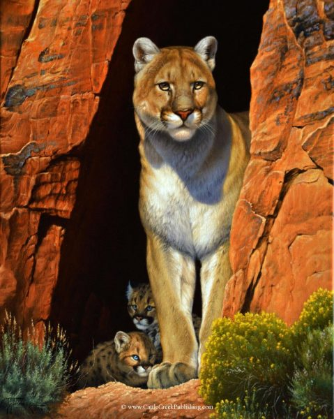 The Guardian  A mother mountain lion, also called a cougar or puma, is watching over her treasured kittens. The Guardian mansanarez wildlife art
