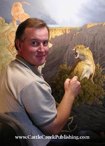 """Meeting The Challenge""Miniatures - Tom Mansanarez - Tom Mansanarez wildlife art portraying mountain lions, bobcats, deer, elk, moose, sheep and buffalo. -"