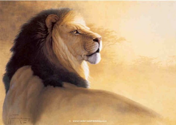African Gold  This stylized painting features a proud male African painting. African Gold mansanarez wildlife art