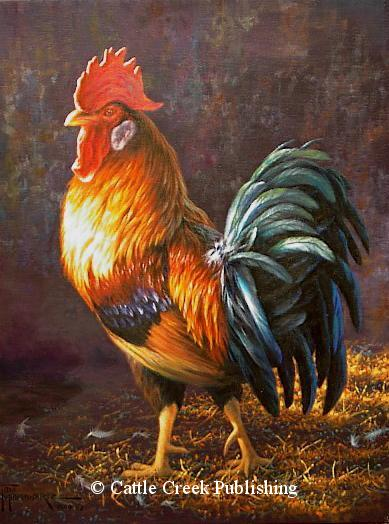 Barnyard Boss  A barnyard rooster is strutting his colors. Barnyard Boss mansanarez wildlife art