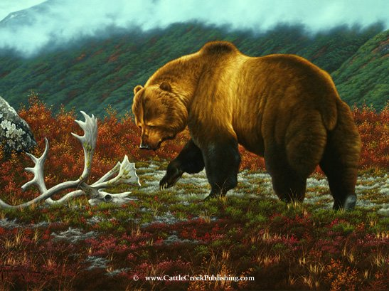 Mossy Remnants  On his daily rounds this large grizzly bear has found a Caribou skull to examine. Mossy Remnants mansanarez wildlife art