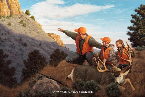 Passing It On  Features a father and sons hunting trophy mule deer together Passing It On mansanarez wildlife art