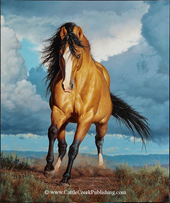 Rolling Thunder <br>This buckskin horse is strutting his stuff as mustang stallions love to do. Rolling Thunder mansanarez wildlife art