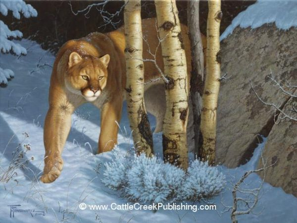 Silent HunterA mountain lion (puma or cougar) is slipping through the forest snow silently searching for his next meal. Silent Hunter mansanarez wildlife art