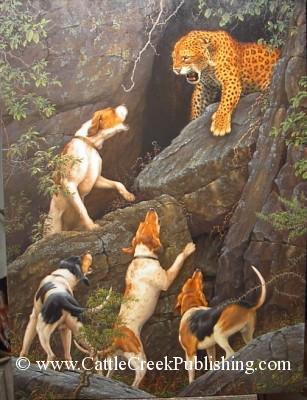 Spotted Fury Hounds baying up a male leopard, so that it can be tagged for observation. Spotted Fury mansanarez wildlife art