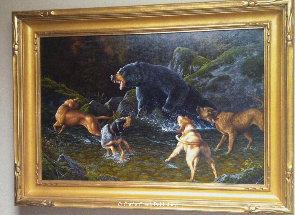 Troubled Waters  This black bear has chosen a creek to make his stand against the pack of hunting hounds. Troubled Waters mansanarez wildlife art